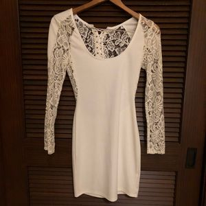 Nasty Gal White Lace Sheer Back Dress size S